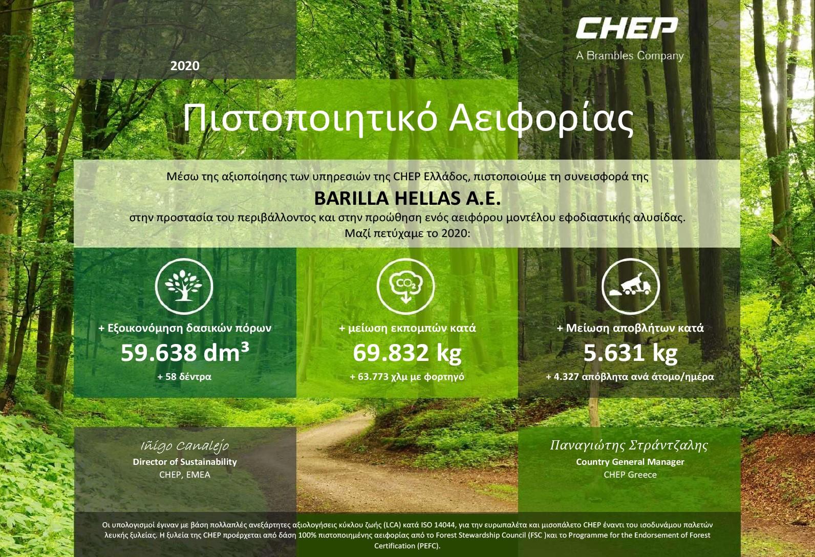 Ένα Βιώσιμο Μοντέλο Εφοδιαστικής Αλυσίδας Πιστοποιητικό Αειφορίας για τη Barilla Hellas με τη συμβολή της CHEP Ελλάδος